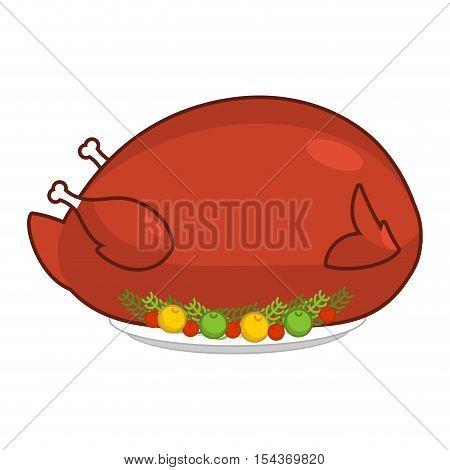 Large Big Turkey For Thanksgiving. Baked Giant Fowl. Huge Roast Chicken On Platter. Illustration For