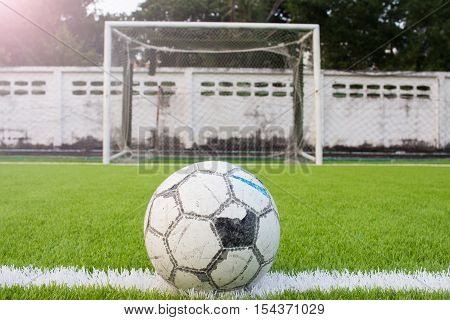 Soccer Ball On Artificial Turf Football Field Green White Grid
