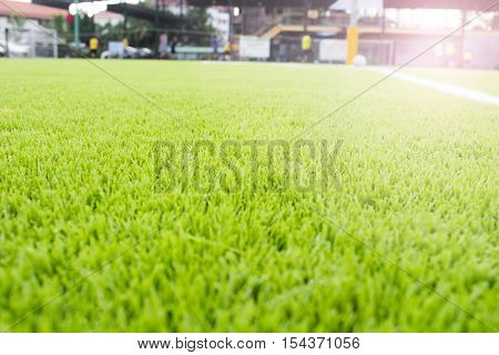 Artificial Turf Football Field Green White Grid