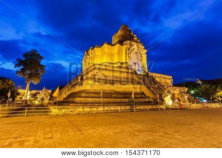 Image of landmark buddhist pagoda at wat Chedi LuangChiang Mai Thailand