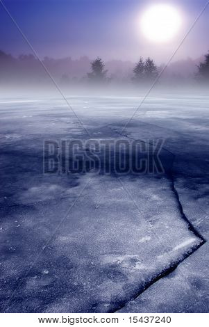 Frozen lake and forest in fog