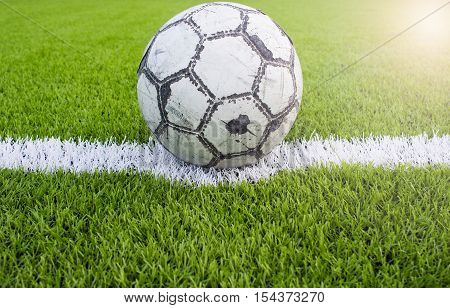 old football on Artificial turf football field green white grid