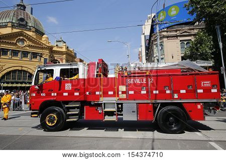 MELBOURNE, AUSTRALIA - JANUARY 25, 2016: Country Fire Authority truck during Australia Day Parade in Melbourne