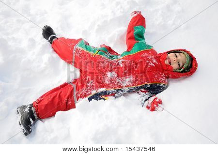 Wonderful activity on snow, children and happiness