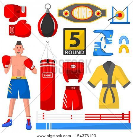 Boxing icons set. Boxer, sport equipment and uniform for workout and tournament: professional fighter and bag, glove and helmet, belt and shorts. Vector isolated illustration on white background.