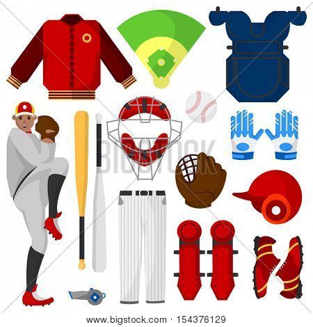 Baseball icons set. Player, sport equipment and uniform for game: bat, ball and glove, shoes or cleats, field, hat and pants, leather mitt and helmet. Vector isolated illustration on white background.