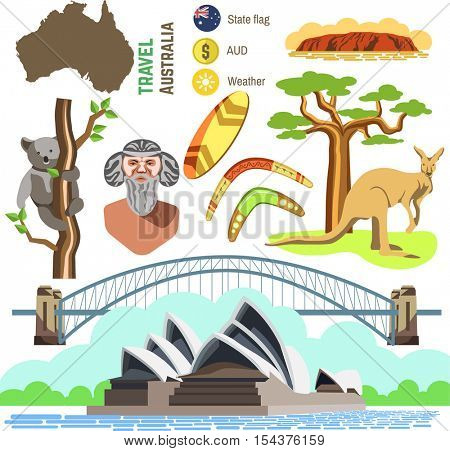 Set of Australia culture symbols. Collection icons: kangaroo and koala, boomerang and surf, aborigine and landscape, bridge and Sydney Opera House. Vector australian travel and tourism illustrations.