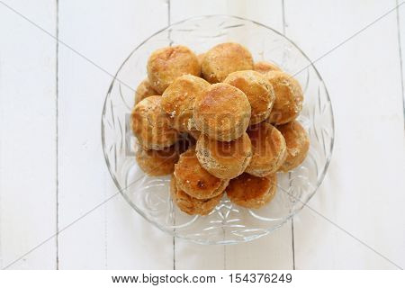 Selective focus of chinese traditional peanut butter cookies