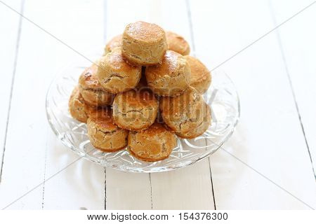 Stacked of Chinese traditional peanut butter cookies