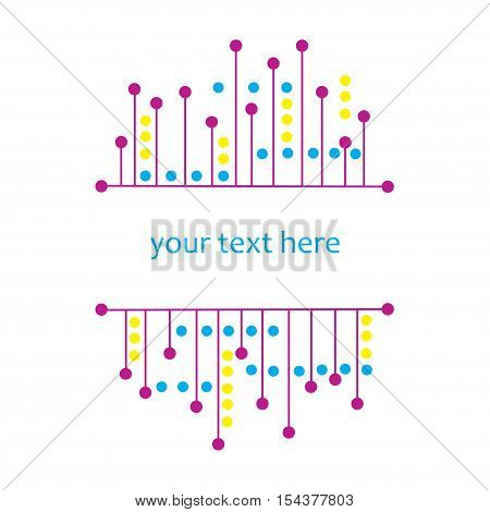 Abstract bright frame with line and blob. Vector stock decorative element isolated on white background
