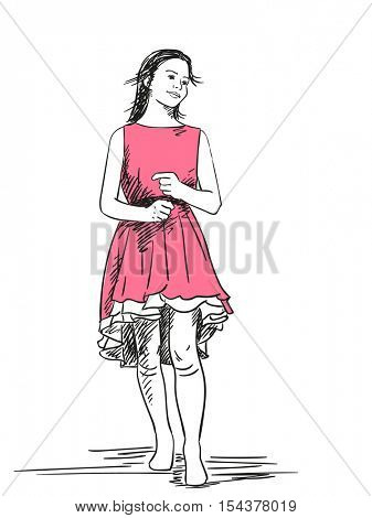Sketch of teenage girl in pink dress Hand drawn vector illustration