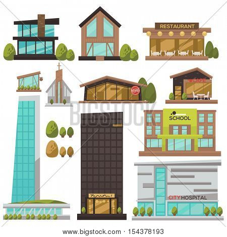 Flat vector set of modern urban architecture. Building and house in city: for business and offices, hotel, shop and bank, hospital and store, school and government, restaurant and cafe, skyscraper.