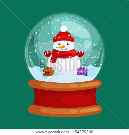 christmas snowman holding present in globe glass for xmas, winter holiday decoration, white snowman in hat and scarf for celebration new year vector illustration.