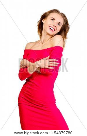 Young sexy slim pretty woman dressing red dress posing isolated on white