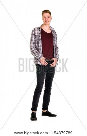 Young guy dressing urban street style posing isolated on white