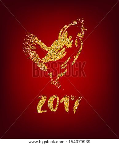Golden rooster on red background. Chinese calendar Zodiac for 2017 New Year of cock. Traditional asian culture animal symbol. Vector illustration with gold sparks for your design.