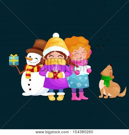 vector illustrations set Merry Christmas Happy new year, girl sing holiday songs with her dog, snowman in hat holding gifts, children warm hats scarves gloves enjoying winter weekend