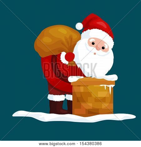 christmas Santa Claus in red suit with bag full of gifts in the chimney climbs that would give presents on Christmas Eve or winter holiday xmass, new year vector illustration.