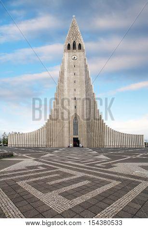Cathedral Hallgrimskirkja Reykjavik at a day, Iceland
