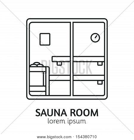 Unique Line Style Vector Logotype Template with Sauna Room. Clean and minimalist symbol perfect for your business. Sauna relaxation concept.