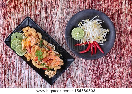 Thai fried macaroni with shrimp , call Pad Thai Macaroni in Thai,served with side dish