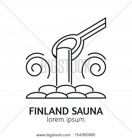 Unique Line Style Vector Logotype Template with steam room process - pouring water on the stones. Clean and minimalist symbol perfect for your business. Sauna relaxation concept.