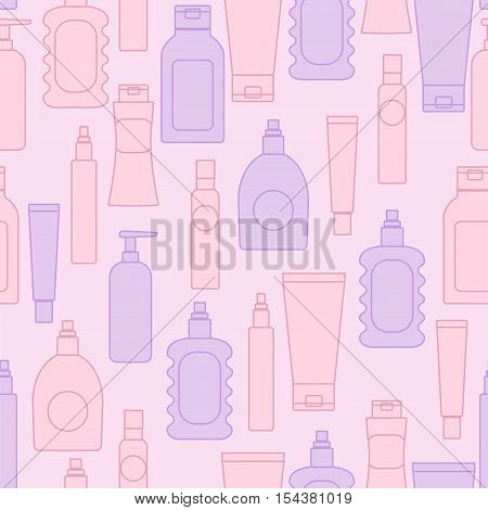 Cosmetic bottles seamless pattern. Vector stock illustration of bodycare packaging in mild pink and violet colors for wallpaper beauty products wrapping.