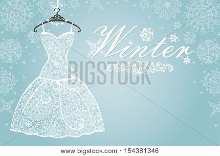Bridal shower dress, Winter invitation card.Openwork wedding dress.Snowflakes lace fabric.Christmas, New Year party.Fashion vector Illustration.Falling snowflakes background.Vertical