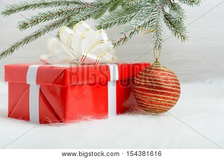 Red Gift Box And Christmas Decoration Ball