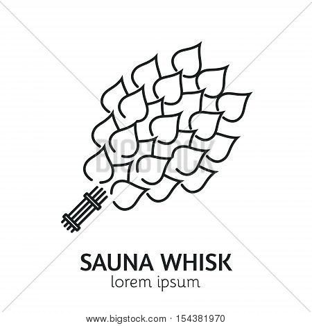 Unique Line Style Vector Logotype Template with Sauna Birch Whisk . Clean and minimalist symbol perfect for your business. Sauna relaxation concept.
