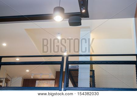 Upstair decorated with retro warm light stock photo