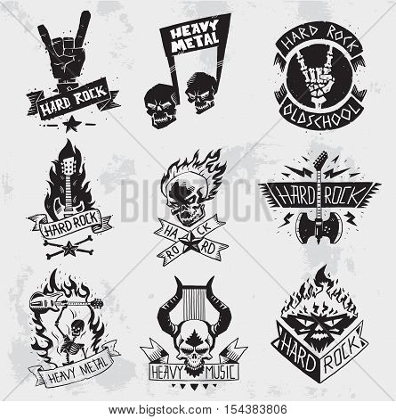 Monochrome style heavy metal rock badges logo classic band typography hardcore.