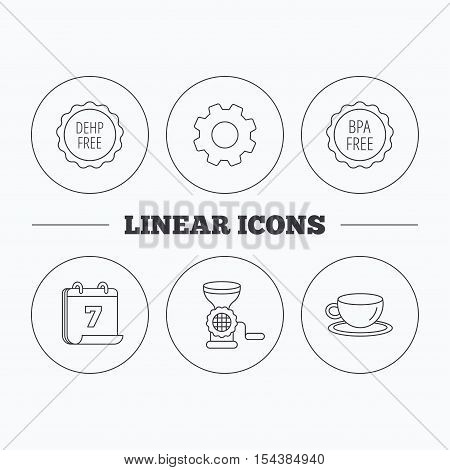 Coffee cup, meat grinder and BPA free icons. DEHP free linear sign. Flat cogwheel and calendar symbols. Linear icons in circle buttons. Vector