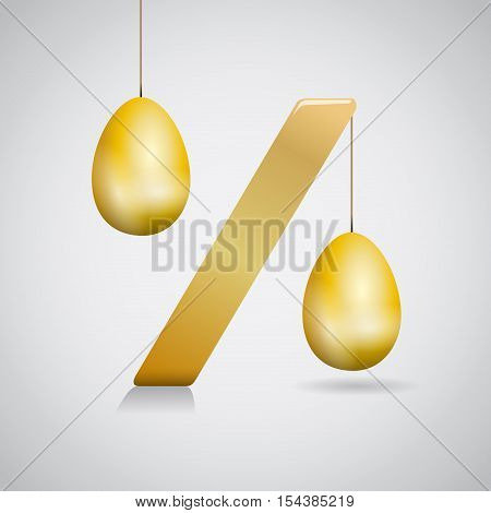 Sign Easter discounts and promotions, isoated illustration