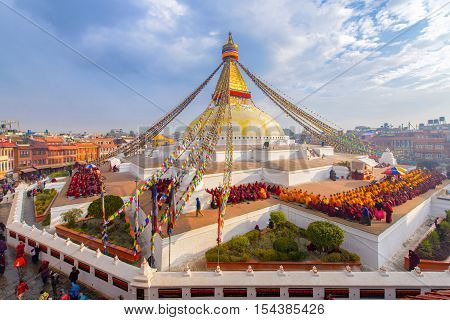 Beautiful of boudhanath stupa in morning time at Kathmandu Nepal