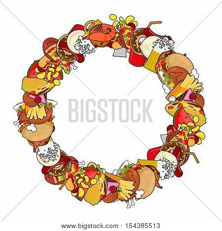 Fast Food Ring Frame. Background Of Feed. Edible Circle Cadre. Pizza And Tacos. French Fries And Ham