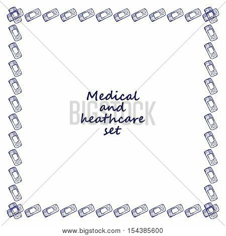 Healthcare and medicine. Vector doodle square frame with plaster. Medical hand drawn background.