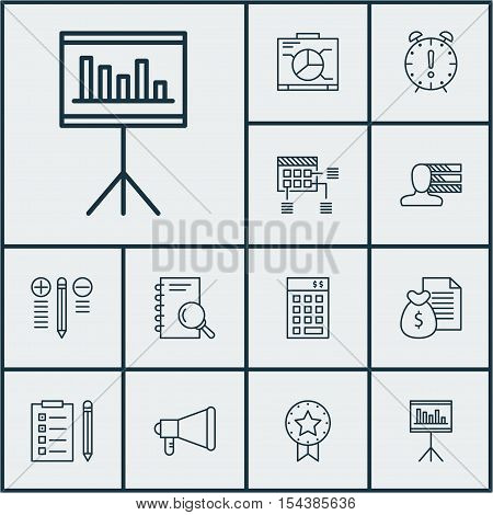 Set Of Project Management Icons On Schedule, Present Badge And Report Topics. Editable Vector Illust