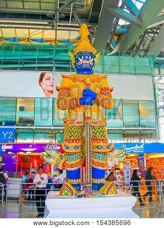 Bangkok Thailand - January 31 2010: Suvarnabhumi Airport is the world's third largest single-building airport terminal in Bangkok Thailand. Designed by Helmut Jahn.