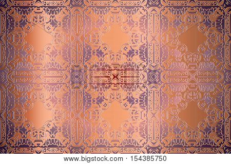 Vector seamless gold pattern ethnic style background. Vintage decorative texture