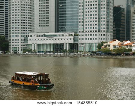 SINGAPORE CITYSCAPE (View of Singapore financial district with Singapore River in the foreground)