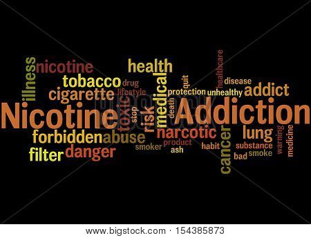 Nicotine Addiction, Word Cloud Concept 3