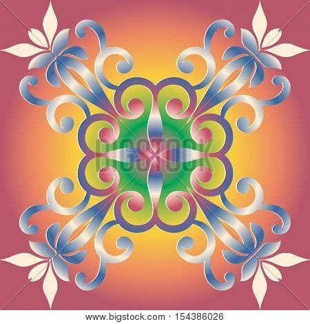 Decorative mandala ornament abstract floral decoration vector illustration