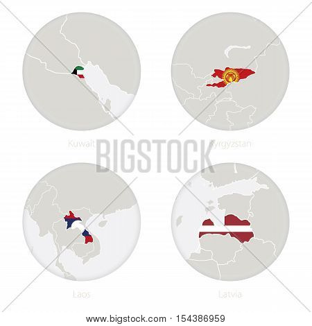 Kuwait, Kyrgyzstan, Laos, Latvia map contour and national flag in a circle. Vector Illustration.