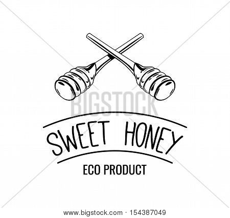 Wooden honey dipper, sketch style vector illustration isolated on white background. Sweet honey label, badge. Vector