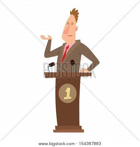 Orator speaks with broad gestures behind podium.