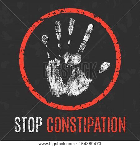 Conceptual vector illustration. Human diseases. Stop constipation.