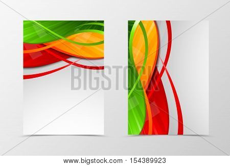 Front and back dynamic wave flyer template design. Abstract template with green, red and orange lines in digital shiny style. Vector illustration