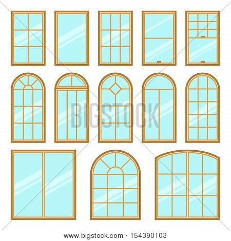 Vector icons set of different types of windows flat style. Architecture frame silhouette isolated. Building element illustration. Home shape design