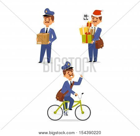 Set of postman character vector courier occupation vector
